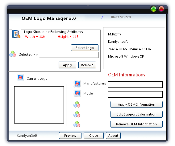 OEM LOGO MANAGER Screen